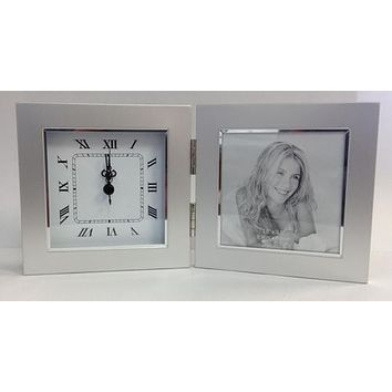 Simple Free Engraving Silver Desk Clock with Picture Frame