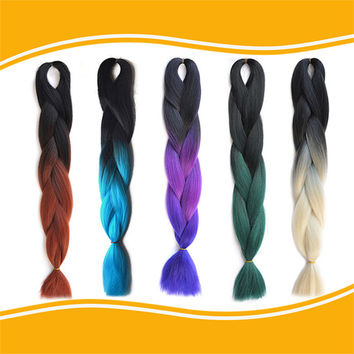 Ombre  kanekalon jumbo braiding hair 24'' 100g/pc synthetic two tone high temperature fiber jumbo braid hair