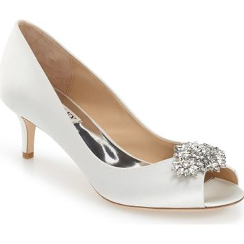 Badgley Mischka 'Nakita' Kitten Heel Peep Toe Pump (Women) | Nordstrom
