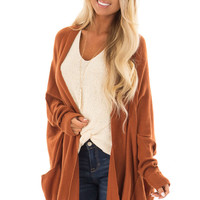 Burnt Orange Open Cardigan with Cuffed Sleeves and Pockets