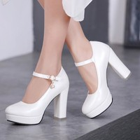 Women Ivory white high heel pumps Womans ankle-strap platform wedding bridal shoes pin