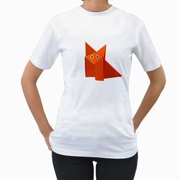 Cute Origami Fox Women's T-Shirt (White)
