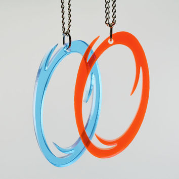 Portal Friendship Necklaces - Orange and Blue Portal Necklaces- GLaDOS