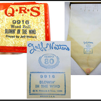 1963 Player Piano Roll, QRS Word Roll, Blowin in the Wind, Jeff Watters, 9916 M. Witmark & Sons, Tempo 80, Original Box, Gift For Collector