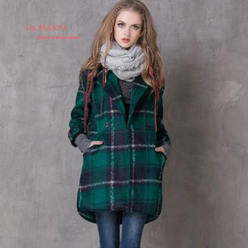 La MaxPa Vintage Winter Warm Women Long Coat Classical Poncho Plaid Warm Wool Coat Ethnic Jacket For Women Winter Thicken Coats
