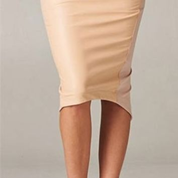 Sexy Taupe Faux Leather Front Stretchy Wrap Back Asymmetric Hem Pencil Skirt