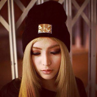 2014 winter warm wool knitted cap golden rectangular iron standard skullies fashion casual gorro hat brand beanies for women men