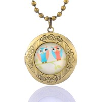 Encounter Light Color Owl Glass Cabochon on Round Antique Bronze Photo Locket Pendant Ball Chain Necklace