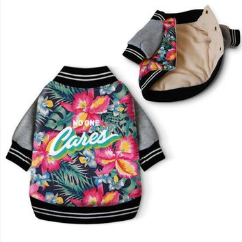 Floral Bomber Dog Jacket - No One Cares