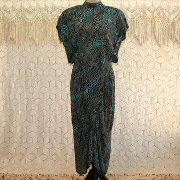 80s Dress Retro 20s Style Art Deco High Neck Dress Open Back Rayon Dolman Sleeve Michelle Stuart Teal Gray Vintage Clothing Womens Clothing