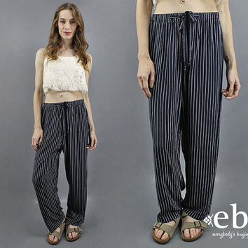 90s Pants 1990s Pants Striped Pants Navy Pants 90s Casual Pants Work Pants Day Pants Lightweight Pants Navy Blue Pants Nautical Pants M L