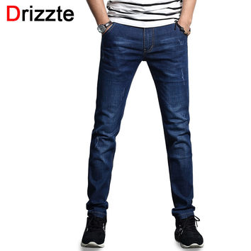 Men's Jeans Summer Thin Stretch Blue Denim Trendy Scratched Slim Fit Jean Men Boys Pants