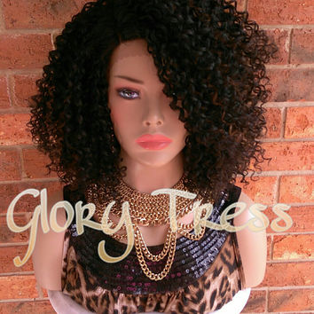 ON SALE // Kinky Curly Lace Front Wig, Big Curly Afro Wig, Curly Black Wig // UNDERSTANDING (Free Shipping)