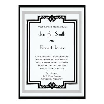 Black White Silver Art Deco Frame Wedding 5x7 Paper Invitation Card