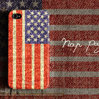 Apple iphone case for iphone iPhone 5 iphone 4 iphone 4s iphone 3Gs : USA ( America ) flag on texture