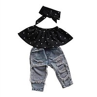 3 Pcs Baby Girl Polka Dot Sleeveless top, Hole Denim Pants and Matching Bow Headwrap