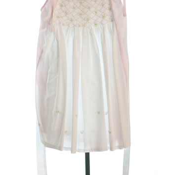 Sweetheart Pink and White Smocked Dress