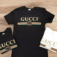 """Gucci"" Summer Hot Fashion New Letters Print Women Men T-Shirt Top Black"