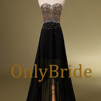 2014 New arrival gold beaded prom dress evening,evening dress,esxy chiffon black dress,fashion dress