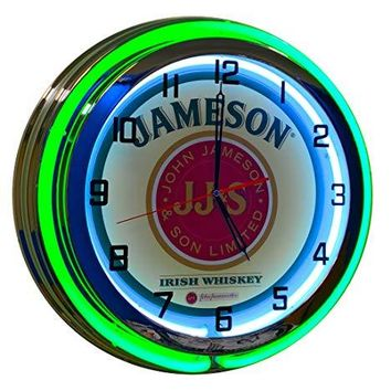 Jameson Whiskey Neon Clock - 19 inch Diameter Double Neon (Green and White Neon Tubes)