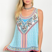 S9-20-3-T011 MINT MULTI PRINT TOP 2-2-1