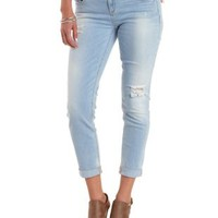 Lt Wash Denim Light Wash Destroyed Boyfriend Jeans by Charlotte Russe
