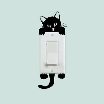 New Cat Wall Stickers Light Switch Decor Decals Art Mural Baby Nursery Room = 1929646788
