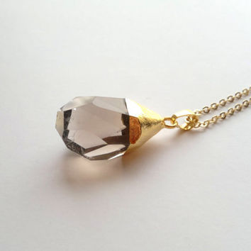 Gold Dipped Smoky Quartz Crystal Necklace Stone Pendant Brown Crystal Big Stone Smokey Necklace Faceted Crystal Quartz Jewelry Gold Plated