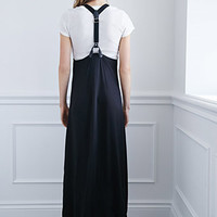 Suspender Button-Down Maxi Dress
