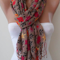 Light Brown and Colorful Flowered Scarf by SwedishShop on Etsy