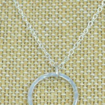 Hammered Sterling  Silver Circle Birthstone Necklace