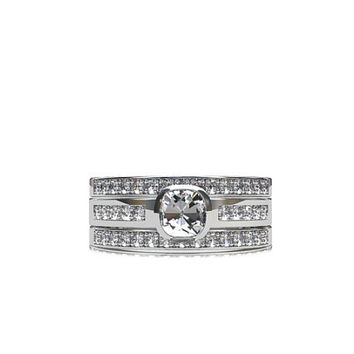 Engagement ring set, cushion cut white sapphire ring, diamond wedding band, bezel engagement, micro pave, half eternity