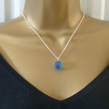 Sea Glass Necklace Sea Glass Marble Sea Glass Pendant Blue Swirl Glass Necklace Vintage Glass Necklace