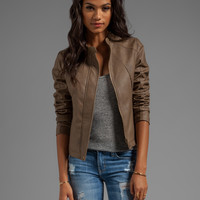 Jack by BB Dakota Kaia Hooded Faux Leather Jacket in Walnut