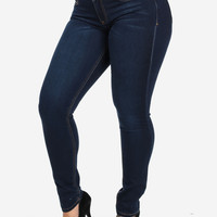 High  Skinny Jeans With Contrast Stitch