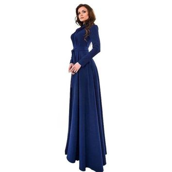 DCCKWQA Elegant Womens Kaftan Abaya Islamic Muslim Evening Party Long Sleeve Vintage Long Maxi Dress