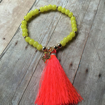 Neon Yellow Beaded Stretch Bracelet Yellow Beaded Bracelet Yellow Beaded Tassel Bracelet Bright Colored Tassel Bracelet Charm Bracelet ST99