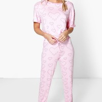 Erin Heart Bunny Tshirt And Jogger Lounge Set