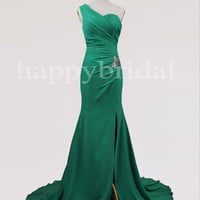 Long Green One Shoulder Prom Dresses Shinning Crystal Bridesmaid Dresses Party Dresses Homecoming Dresses 2014 New Fashion