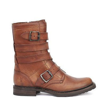 Frye Womens Veronica Tanker Wrapped Up Boots Cognac Leather