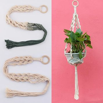 Dip Dyed Single Macrame Plant Hanger