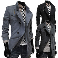 Winter Stylish Korean Double Breasted Design Slim Men Coat Jacket [6528960899]