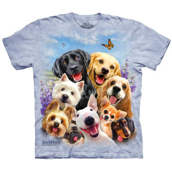 The Mountain DOGS SELFIE T-Shirt Funny Labrador Dachshund Pug Puppy Faces S-5XL
