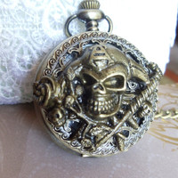 Pirate pocket watch men's pocket watch by Charsfavoritethings