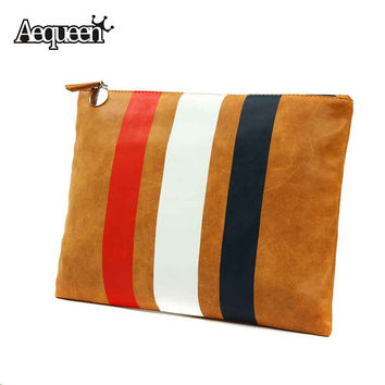 Fashion Women Handbag Casual Day Clutch PU Leather Stripe Bags European and American Style Totes Envelope Clutches