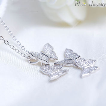 Silver Necklaces  Silver Crystal Butterfly Necklaces