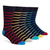 Men's Topman Rugby Stripe Pattern Socks - Blue (5-Pack)
