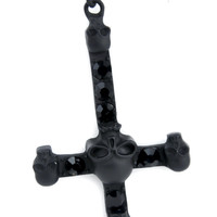 Black Inverted Cross Necklace with Skull Center