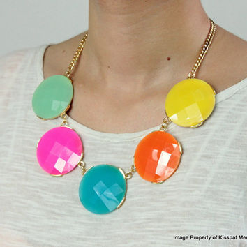Colorful Girls Necklace,Large Bubble Jewelry,Short Necklace Gift,Kids Necklace