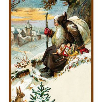 Victorian Father Christmas Naturalist Santa Delivering Presents with Rabbits in the Snow Counted Cross Stitch or Counted Needlepoint Pattern